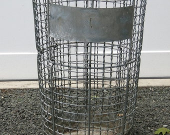 Vintage Industrial Trash Can Norwich Wire Works