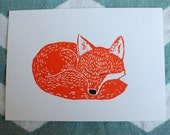 "Sleeping Fox in orange - 5""x7"" original linocut print"