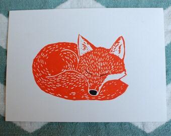 "Sleeping Fox in orange - 5""x7"" original linocut print"