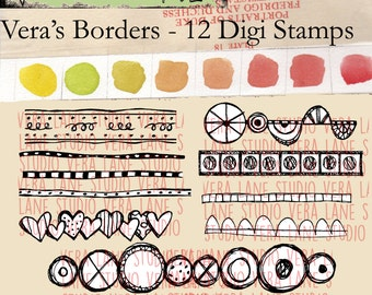 Vera's Borders - 12 doodle border digi stamps available for instant downlaod