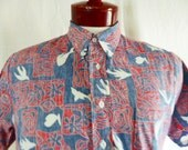 aloha vintage 80s HRH His Royal Highness red white blue hawaiian shirt abstract flower shark bird check pattern popover reverse print medium