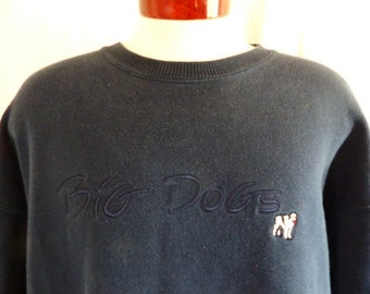 vintage 90's Big Dogs navy blue fleece  graphic sweatshirt tonal blue on blue embroidered dog logo crew neck pullover jumper oversize xl