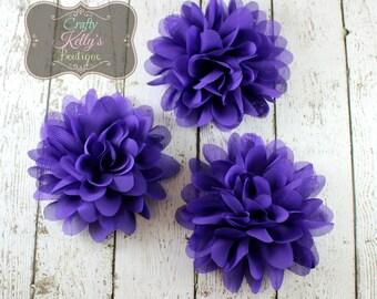 Purple Chiffon Puff Flower, 4-5 inch Size, Chiffon Petals, Headband Flower, DIY Headband Supply