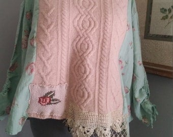 Upcycled clothing sweater and linen  , artsy top, recycled sweater, shabby chic top, funky swing top, magnolia pearl inspired ,L-XXXL,