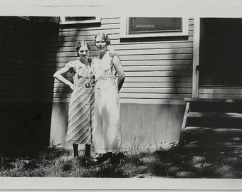 Old Photo 2 Women wearing Dresses outside House 1930s Photograph snapshot vintage