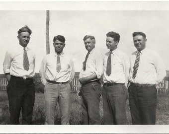 Old Photo Men wearing White Shirts and Ties 1930s Photograph snapshot Vintage