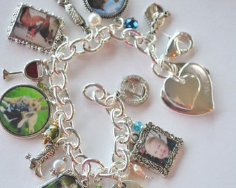 Photo Charm Bracelet, Charm Bracelet, I Love You, Horses, Cowboy, Cowgirl, Cowboy Boots, Photo Charms, Photo Gift, Mother-in-Law Gift