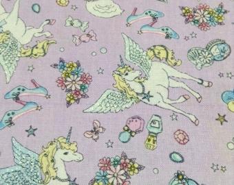 Cute Unicorn Pegasus Print Japanese Fabric Lavender - 110cm x 50cm