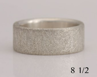 Sterling silver band, scratched and rough texture, wide band, size 8 1/2, #739.