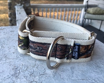 "Moose's Mossy Oak Camo on Hemp  1.5"" Martingale Collar"