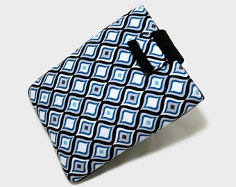 Tablet Case, iPad Mini Case, Geormetric, Kindle Cover, 7, 8 inch Tablet Sleeve, Cozy, Blue and White, Handmade, FOAM Padding, Holiday Gift