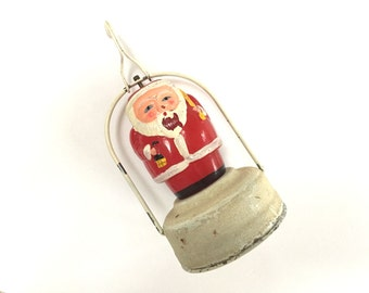 Vintage Santa Glass Lantern - Battery Operated Light Up - Made in Japan - Christmas Figural Santa Light Bulb