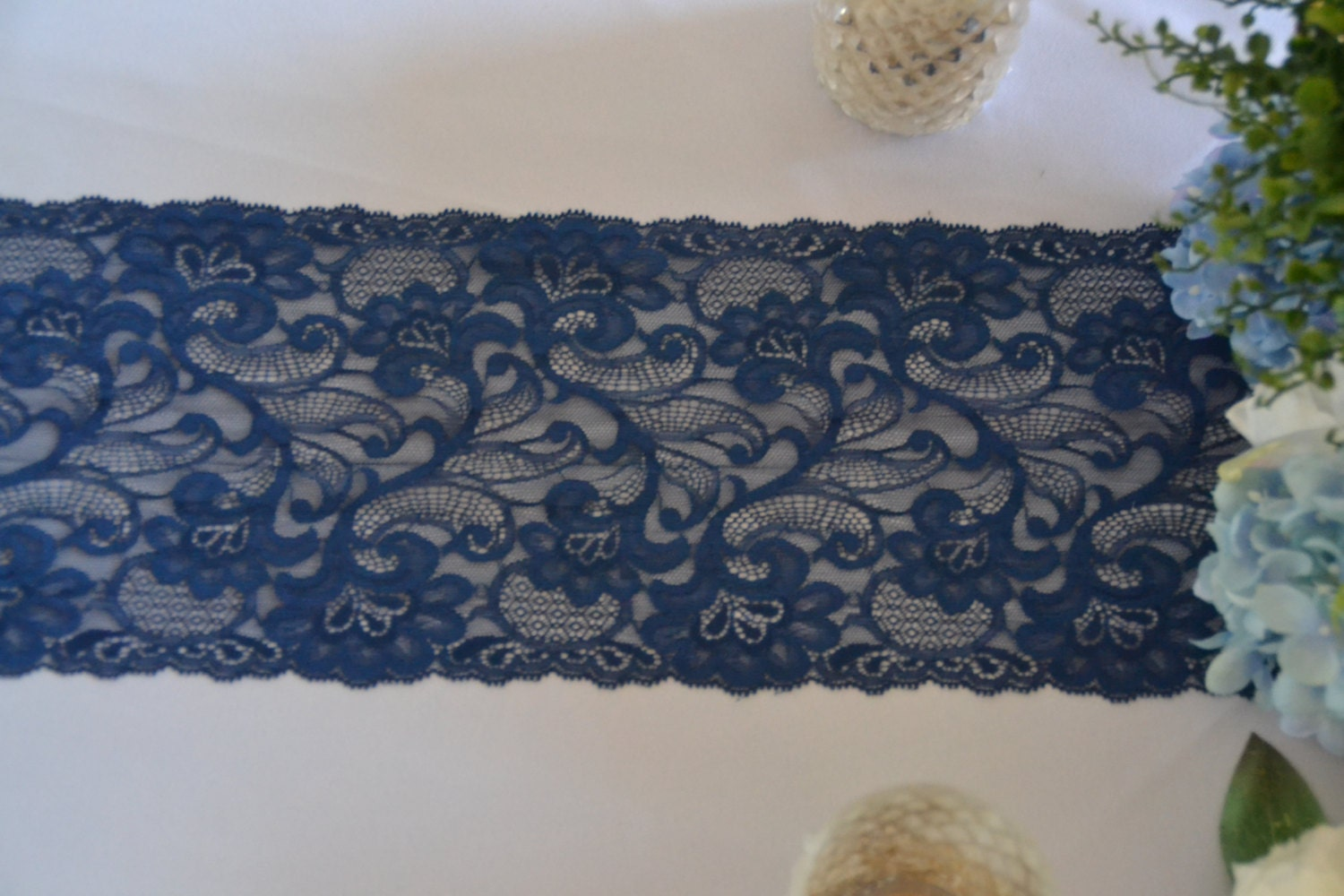 American navy lace table runner lace 3ft 12 ft navy blue for 12 ft table runner