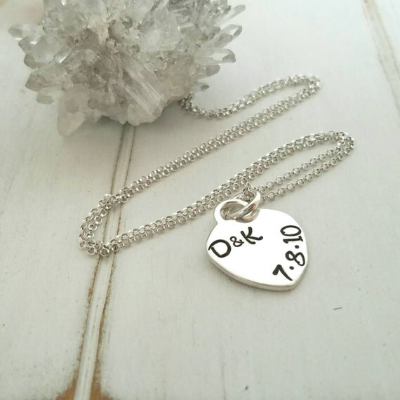 Solid Sterling Silver Heart Necklace, Personalized Name Necklace, Initial necklace, Anniversary Gift, Valentines Day, Childrens name plate