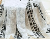 Embroidery Chiffon Fabric, Off White Fabric White Black Embroidering Flower Stripes for Curtain Dress Fabric- 1/2 Yard
