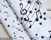 White Cotton Fabric With Black Music Score Note Stars- 1/2 yard