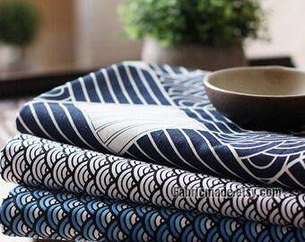 Vintage Navy Blue Cotton Fabric, Japanese Kimono Fabric, Navy Fabric With Wave Plaid Tribe Emblem Cotton - 1/2 yard