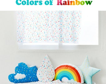Colors Of Rainbow Fabric, Rainbow Rain Drop Curtain Cushion Fabric, White Cotton Polyester Blended Digital Print Fabric - One Panel 60x140cm