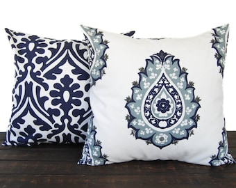 Pair of Throw Pillow covers, Pillow Covers, Cushion, Decorative Pillow, Vintage Indigo Blue White contemporary geometric modern decor