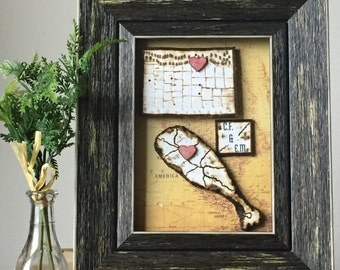 Long Distance - Boyfriend Gift - Relationship - Map - Personalized Gift