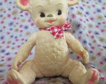 Edward Mobley, Teddy Bear, Sun Rubber, 1958, rare pink variant, squeak toy