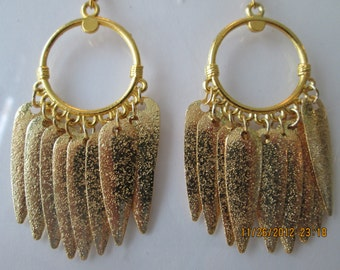 Gold Tone Hoop Earrings with Gold Tone Leaf Charms Dangles