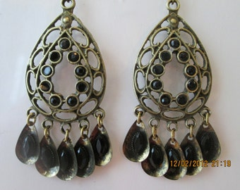 Bronze Tone Chandelier Earrings with Black and Bronze Dangles