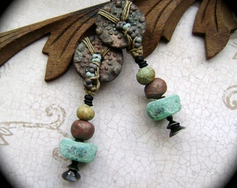Earth and Sky Deux, mixed media jewelry, organic style, lampwork beads, matte ceramic, assemblage earrings, rustic tribal, AnvilArtifacts