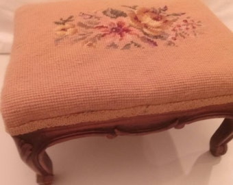 Vintage Needlepoint Tapestry Footstool Chic French