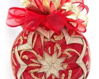 Crimson Swirl Red and Gold Glitter Handmade Keepsake Quilted Ornament
