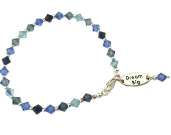 Little girls Swarovski crystal bracelet with Dream Big sterling silver charms, shades of Blue crystals, Sterling silver clasp and beads