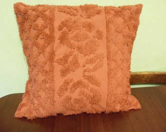 Dark Mauve Red Chenille Pillow Covering    (T)