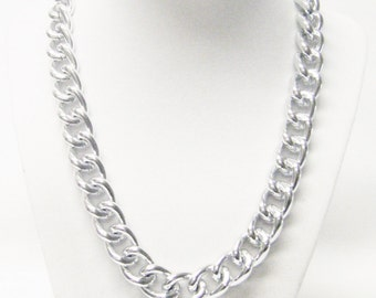Large Link Silver Plated Loop Chain Necklace
