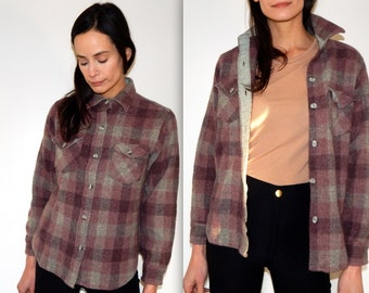 flannel shirt womens vintage 70s pink plaid flannel thick wool flannel woolrich woman lumberjack rugged hipster mauve pink plaid western