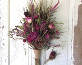 RESERVED FOR HEIDI Final Payment Bridal Bouquet Wedding Dried Flower Burgundy Peony Bronze Blush Rose Love In A Mist