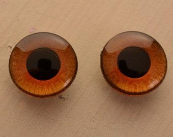 OOAK Blythe amber brown Handpainted Blythe doll eyechips set. realistic, shining, unique, glowing, metallic