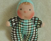 """Reserved for Tara. Fretta's Pocket Baby Doll. 16 cm / 6.5 """" Waldorf Inspired Miniature Baby Doll.  Soft Sculptured Cloth Baby."""