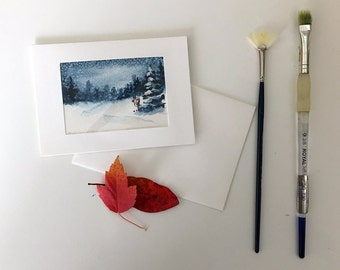 "Christmas card.Greeting Card. Original abstract acrylic miniture painting , 2.5"" x 3.5"" watercolor on watercolor paper, Free Shipping in US."