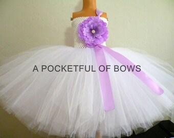 Lavender and White Flower Girl Tutu Dress, Long White Tulle Dress