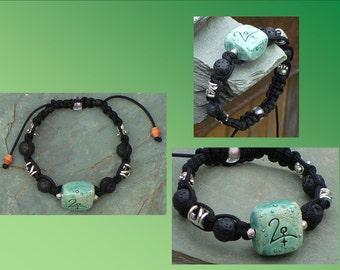 Cupido Glyph Ceramic Bracelet Teal Pottery Uranian Astrology Black Lava Stones Tibetan Bali Weave