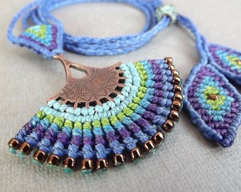 Macrame Necklace, Peacock Necklace, Fan Necklace, Boho Necklace