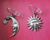 Vintage Sun and Moon Silver Earrings
