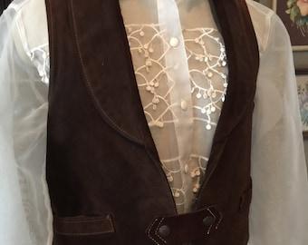70s Leather Hippie Vest with Lapels