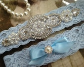 SALE-Wedding Garter-Garters-Stretch lace-blue garter-Garter-Rhinestone-Pearl garter-Keepsake-Something Blue-Lace Garter-bridal garter-ivory