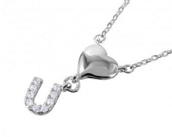 Sterling Silver Rhodium Plated Heart and CZ U Necklace #31