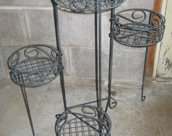 Vintage Wire Four Tier Foldable Plant Stand 28 inches tall 1960's or earlier