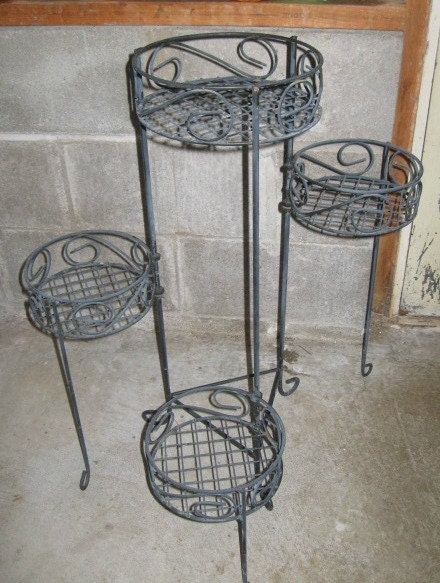 Vintage Wire Four Tier Foldable Plant Stand 28 Inches Tall