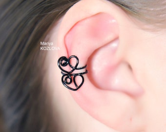 Piercing Imitation LOVE Black Cartilage Ear Cuff TWO HEARTS/fake faux false piercing/ohrklemme ohrclip/ear wires jacket/black ear manschette