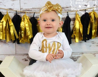 First Birthday White tutu dress- One tutu dress Gold Glitter- tutu - white tutu bodysuit- one birthday outfit- gold and white  birthday