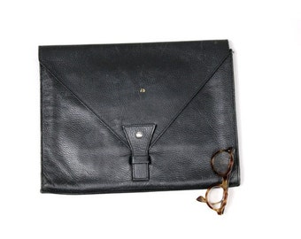 80s large  black leather letter  clutch Initials JB xl